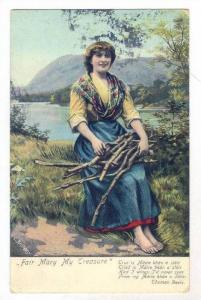 Girl with arm load of  faggots (wood), artist L ANTHONY, PU-1906