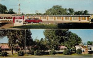 Columbus Montana~Big Sky Motel~Split View~Red Truck~Woltermann, Owners~1960s