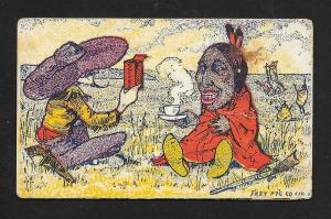 VICTORIAN TRADE CARD Schnull & Krag's Coffee Cowboy & Indian