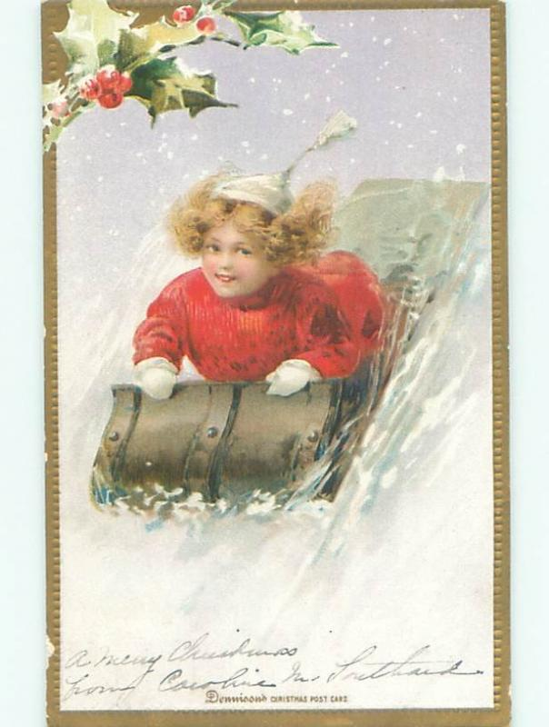 Pre-1907 christmas CUTE GIRL RIDES TOBOGGAN SLED W7363