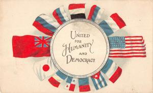 United For  Humanity And Democracy Nation Flags Antique Postcard K10694