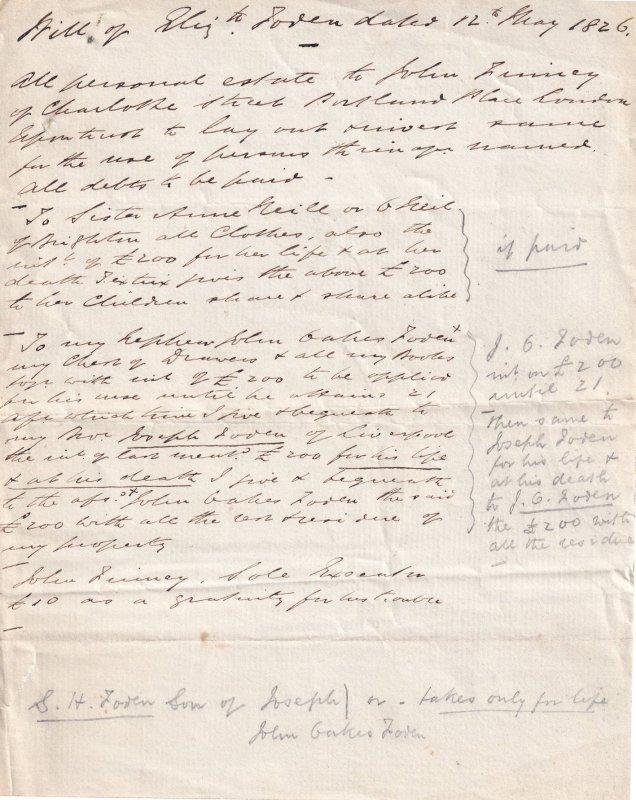 1826 Victorian Legal Debt Solicitors Antique London Letter