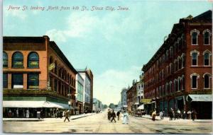 Sioux City, Iowa Postcard Pierce Street North from 4th St. c1910s Unused