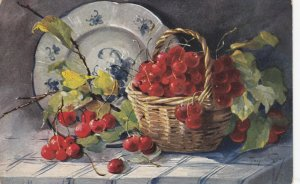 AS: MARY GOLAY, PU-1909; Still Life, Basket of cherries