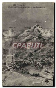 Old Postcard The Pyrenees Bagneres de Bigorre panoramic view