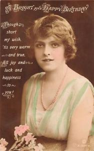 Bright and Happy Birthday! True Warm Wish Happiness Luck, Woman Necklace 1916
