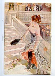 226802 ART NOUVEAU Belle Lady on stairs Vintage postcard