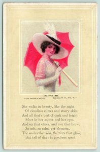 Frank H Desch~Isabel Lovely Lady in White Lace~Picture Hat~Red Umbrella~Knapp