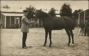 Man in Uniform w/ Horse - Nakel Netze Poland Cancel c1910 Real Photo Postcard