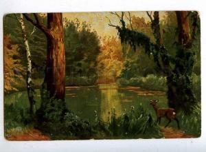 197328 Deer hunting in a summer forest Vintage postcard
