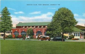 Fort Benning Georgia~Military Army Post Service Club~1930s Cars~Linen Postcard