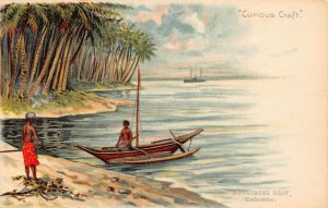 Sri Lanka Ceylon Boat Curious Craft Tuck Litho Postcard