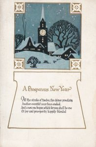 A Prosperous NEW YEAR, PU-1929; New Year's Poem, Clock Tower
