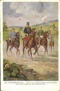 austria, Archduke Heir to the Throne Charles on the Battlefield (1916) Postcard