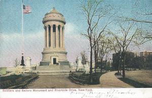 Soldiers & Sailors Monument and Riverside Drive, N.Y.C., early postcard, unused