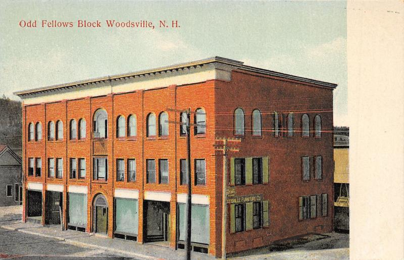 Woodsville New Hampshire~Odd Fellows Block~IOOF~Furniture Co~c1910 Postcard