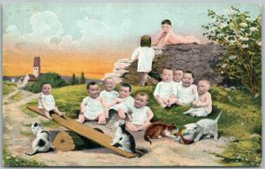 MULTIPLE BABIES HUNGARIAN ANTIQUE POSTCARD