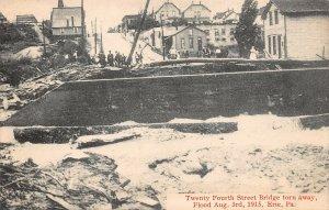 LPS29 Erie Pennsylvania 1915 Flood 24th Street Bridge Torn Away Postcard