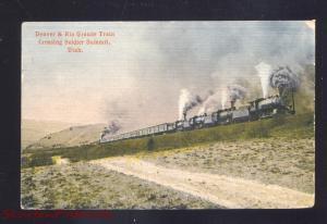 SOLDIER SUMMIT UTAH DENVER & RIO GRANDE RAILROAD TRAIN VINTAGE POSTCARD 1909