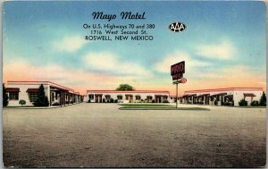 Roswell, New Mexico Postcard MAYO MOTEL Highway 70 Roadside Chrome / 1955 Cancel