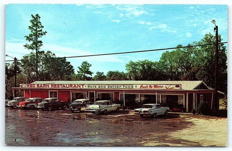 Postcard Fl Lake City Red Barn Restaurant Just Good Food 1950s Old Cars D16