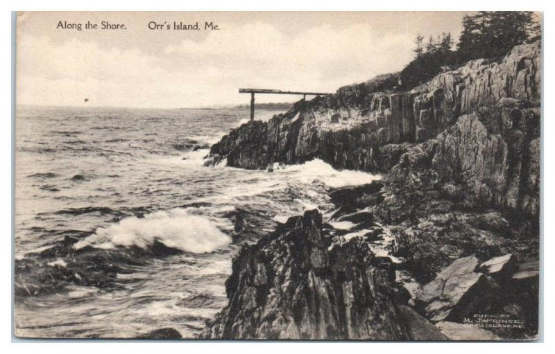 1911 Along the Shore, Orr's Island, Maine Postcard RARE Cancel