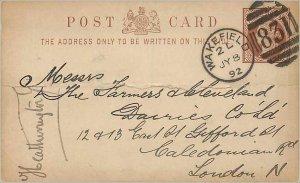 Entier Postal Stationery Postal Great Britain Great Britain 1892 Wakefield