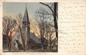 Meadville PA~Handcolored Episcopal Church~Parsonage~Postcard c1906 (As Is)