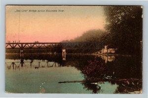 Escanaba MI-Michigan, Mirror River, SOO Line Rail Bridge, Vintage c1911 Postcard