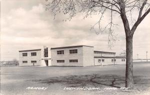 Shenandoah Iowa~National Guard Armory~Baseball Field Fence~Lights~1950s RPPC