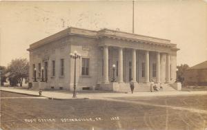 Estherville Iowa~US Post Office~Lady Pushing Baby Carriage~Boy on Step~1916 RPPC