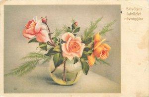 Postcard Greetings Bonne annee spring bouquet flowers roses vase