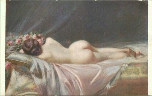 C-1910 Sexy reclining risque on bed Woman interior roses Postcard 20-7651