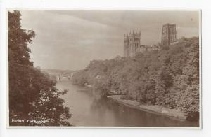 UK England Durham Cathedral from River Great Britain Real Photo Postcard RPPC