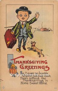 Thanksgiving Old Vintage Antique Postcard Post Card writing on back