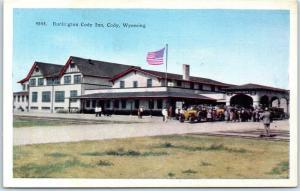 Cody, Wyoming Postcard BURLINGTON CODY INN Hotel Depot HHT Linen c1930s Unused