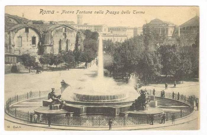 Nuova Fontana Nella Piazza Delle Terme, Roma (Lazio), Italy, 1900-1910s