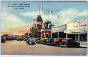 JUAREZ, MEXICO   Corner JUAREZ AVENUE & 16th of SEPTEMBER STREET Scene Postcard