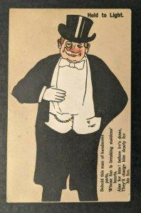 Mint Vintage Handsome Man Hold To Light Postcard Hidden Image of Lady