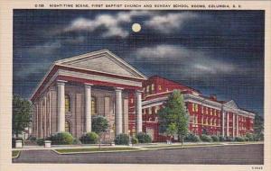 South Carolina Columbia Night Time Scene First Baptist Church And Sunday Scho...
