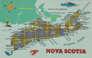 Tartan Map , Nova Scotia , Canada , 50-60s