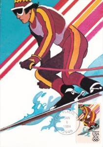 Alpine Skiing Stamp 1984 Los Angeles Olympics Artwork By Robert Peak