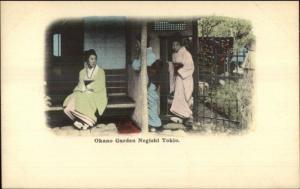 Tokyo Japan - Japanese Women Okano Garden Negishi Tokio Postcard c1910