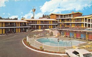 Redding California~The Ponderosa Inn~Poolside~1950-60s Cars~Postcard