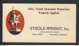 Hagerstown, Maryland USA - Insurance Strole-Wright Inc. statue knight BLOTTER