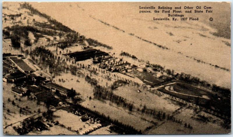 1937 Louisville Kentucky FLOOD Postcard Air View Ford Plant & State Fair Bldgs