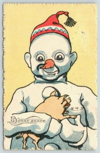 New Year Fantasy~ART DECO Snowman Holds Baby Pig~Carrot Nose~BKWI 2979-6~1913