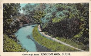 Roscommon Michigan~Robinson Creek? Scene~Dirt Trail along Water/Trees~1924 Pc
