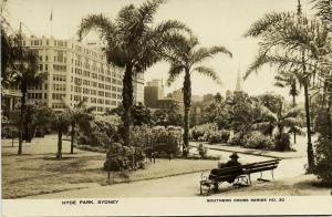australia, SYDNEY, Hyde Park (1930s) RPPC, Southern Cross Series No. 20
