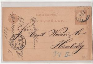 Advertising J. Schneider & Co. correspondence post card Hungary 1886 to Hamburg